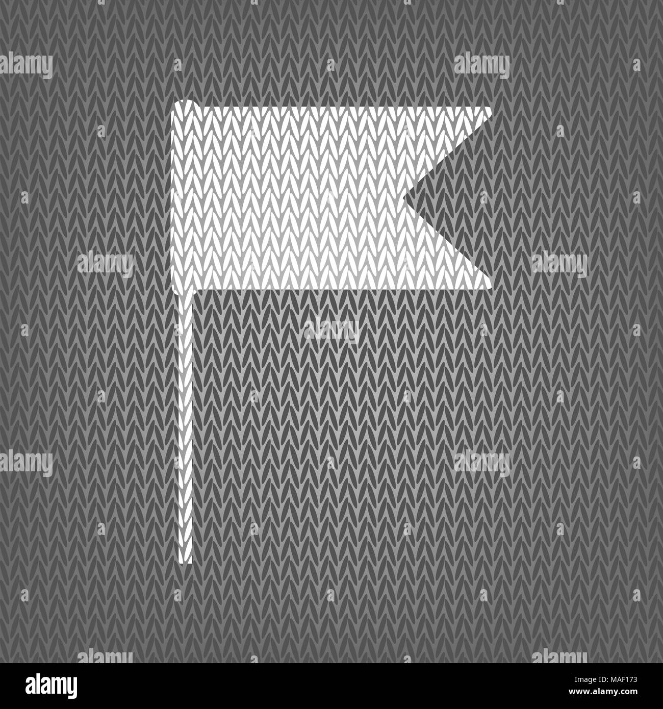 Flag sign illustration. Vector. White knitted icon on gray knitted background. Isolated. - Stock Vector