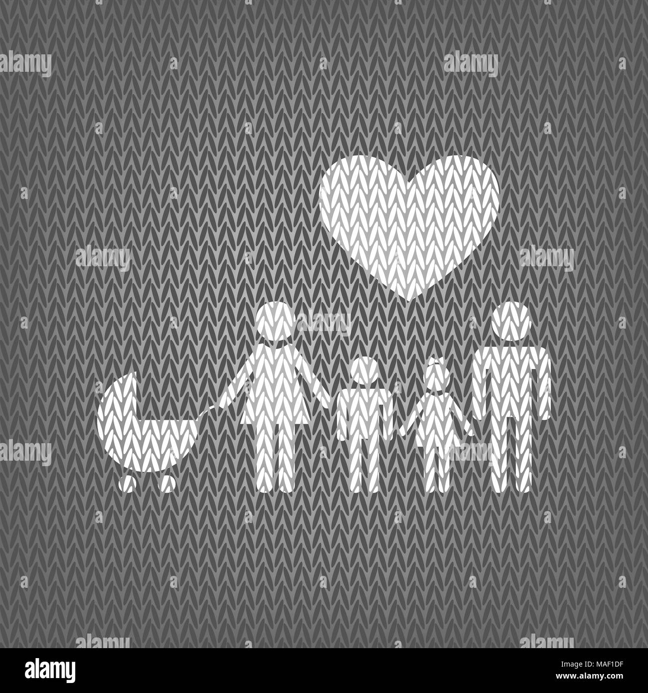 Family sign with heart. Husband and wife are kept children's hands. Vector. White knitted icon on gray knitted background. Isolated. - Stock Image