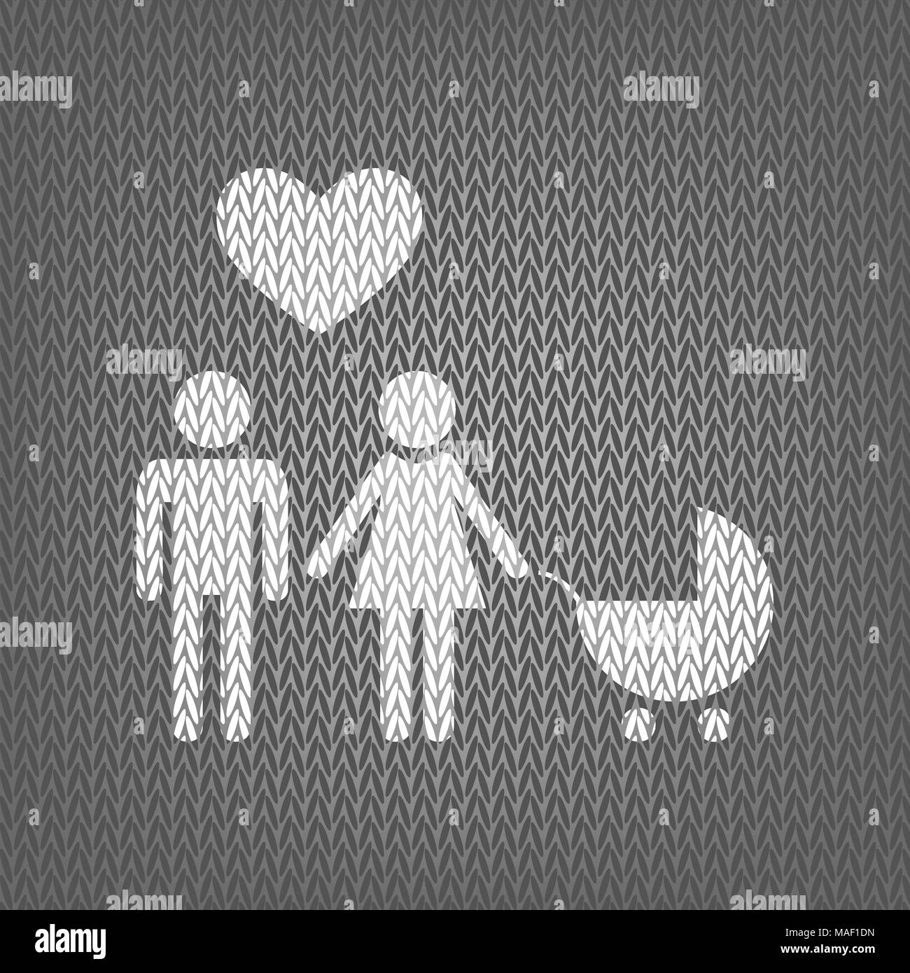Family symbol with pram and heart. Husband and wife are kept each other's hands. Love. Vector. White knitted icon on gray knitted background. Isolated - Stock Image