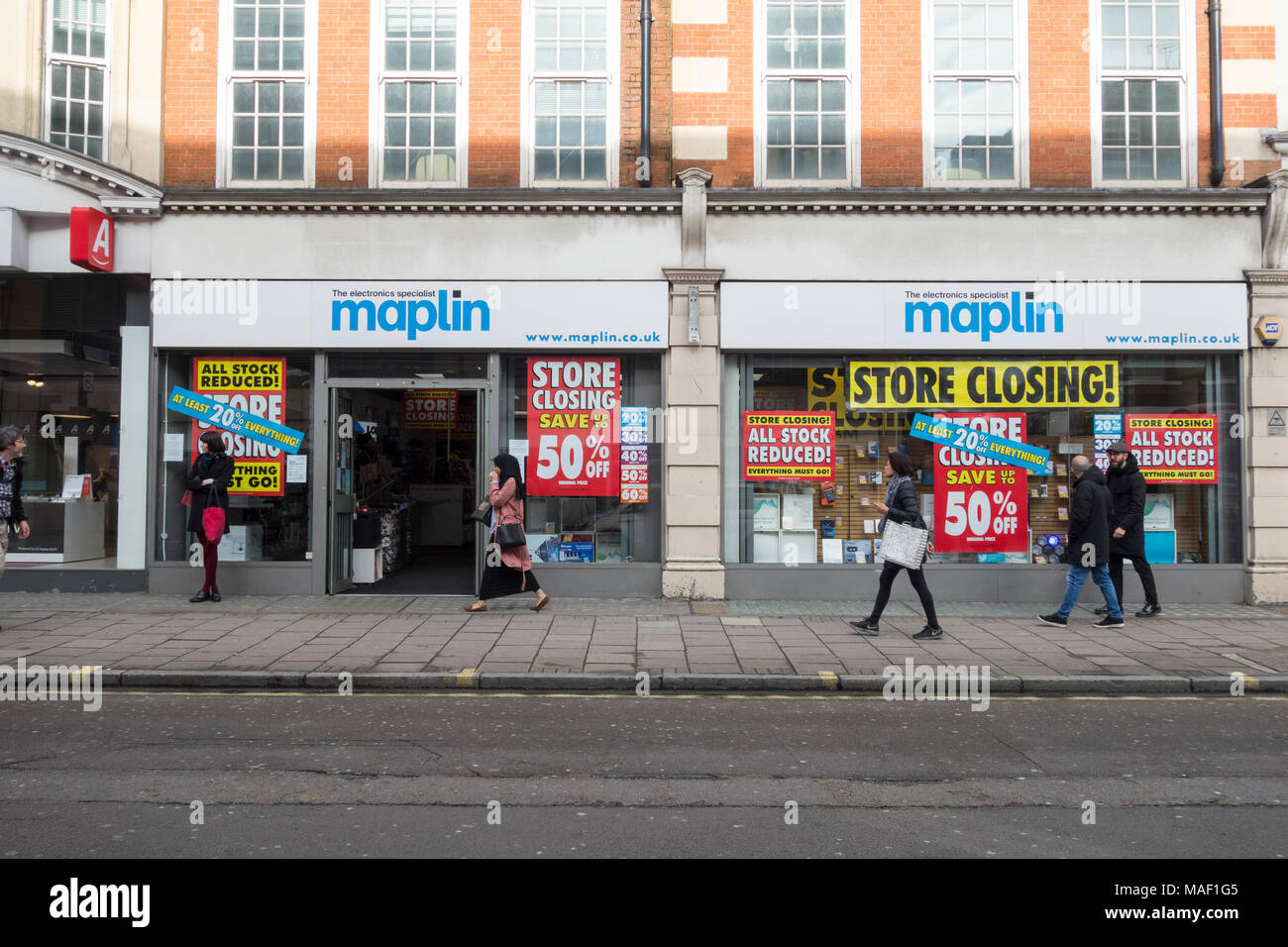 Maplin, the electronics specialist store, closing down sale on Tottenham Court Road, London, NW1, UK - Stock Image