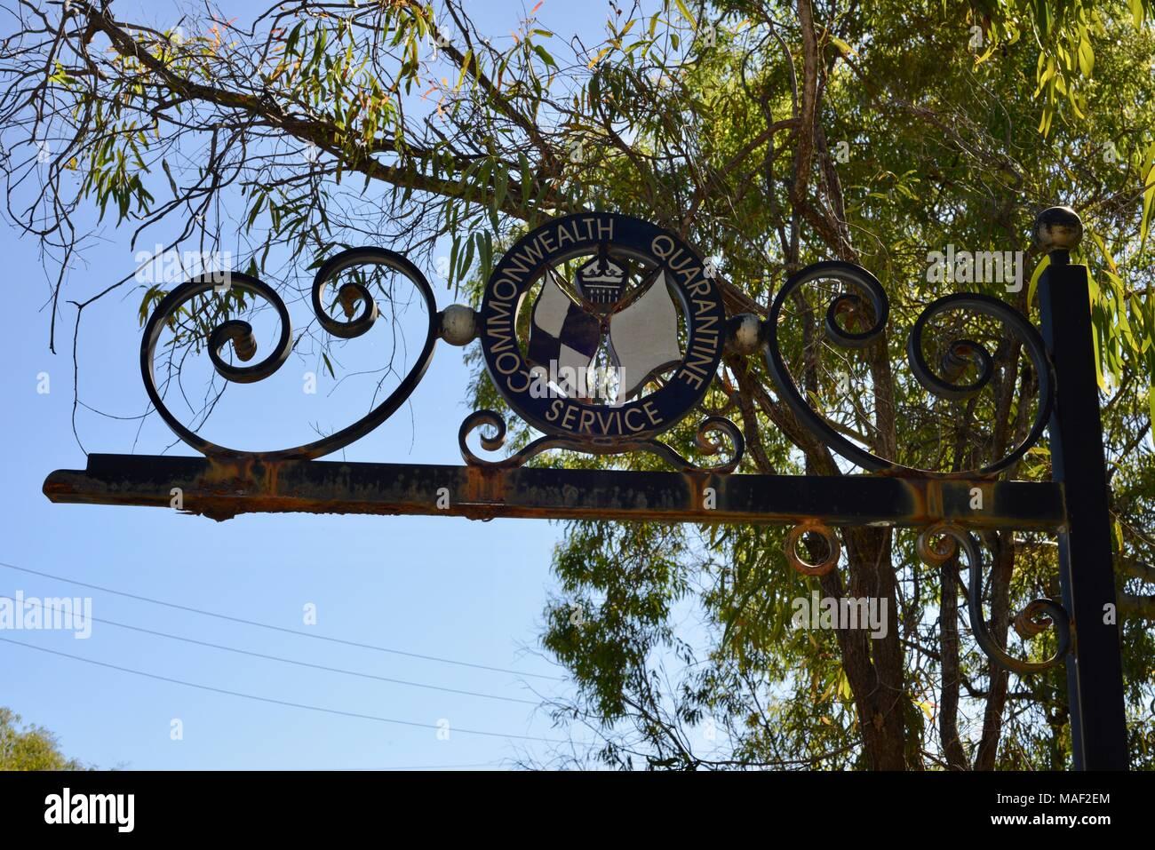 Commonwealth quarantine service sign, Shelly Cove trail at Cape Pallarenda Conservation Park Queensland Australia - Stock Image