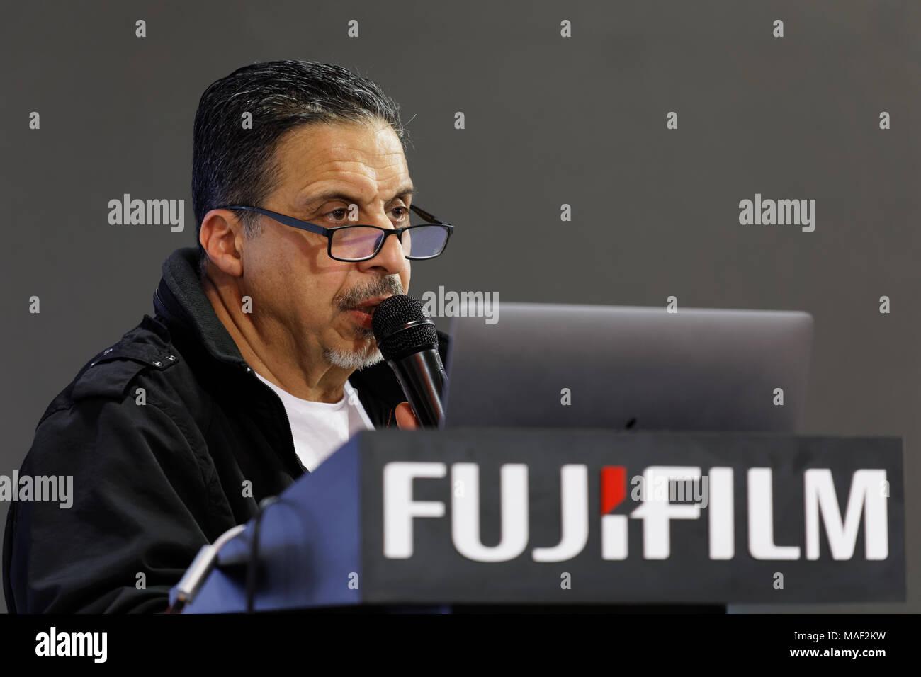 Photographer Georgy Pinkhasov attends the presentation new camera of Fujifilm - Stock Image