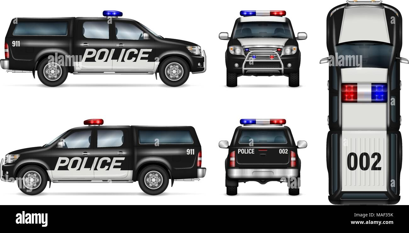 police car vector mock up isolated template of black pickup truck