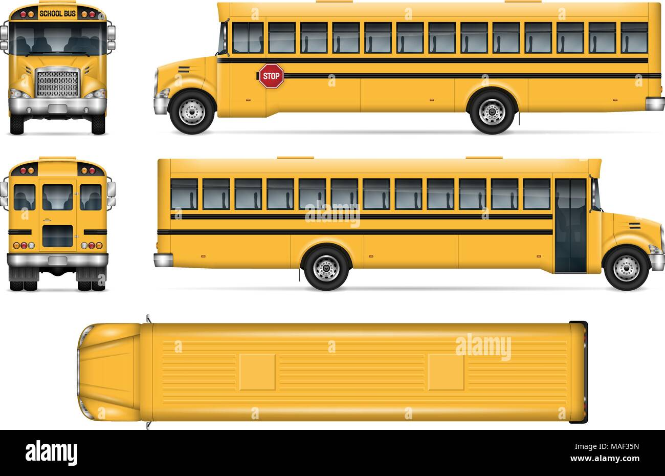school bus vector mock