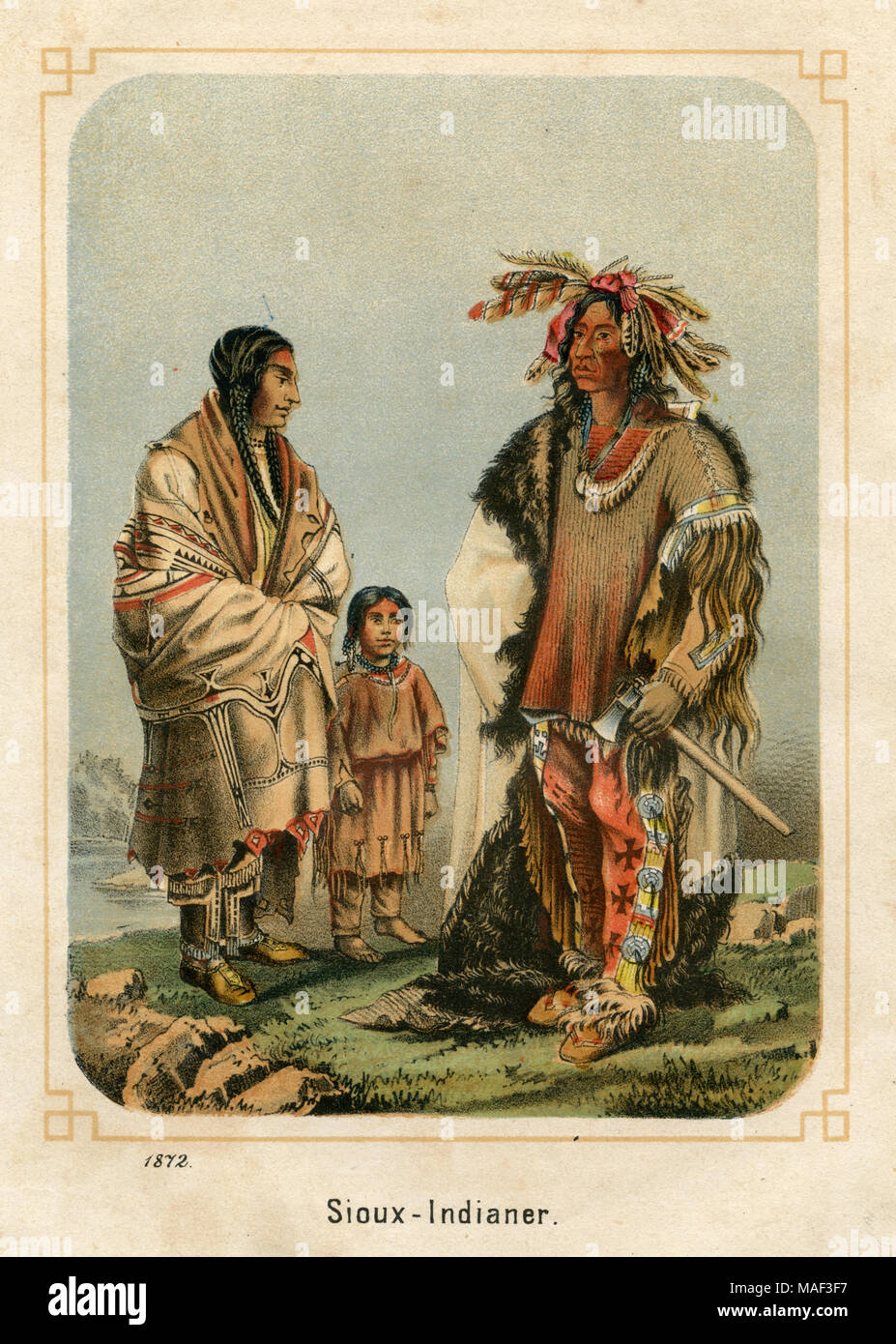 Sioux Indian family: mother, daughter, father (from left), anonym, created , published 1872 - Stock Image