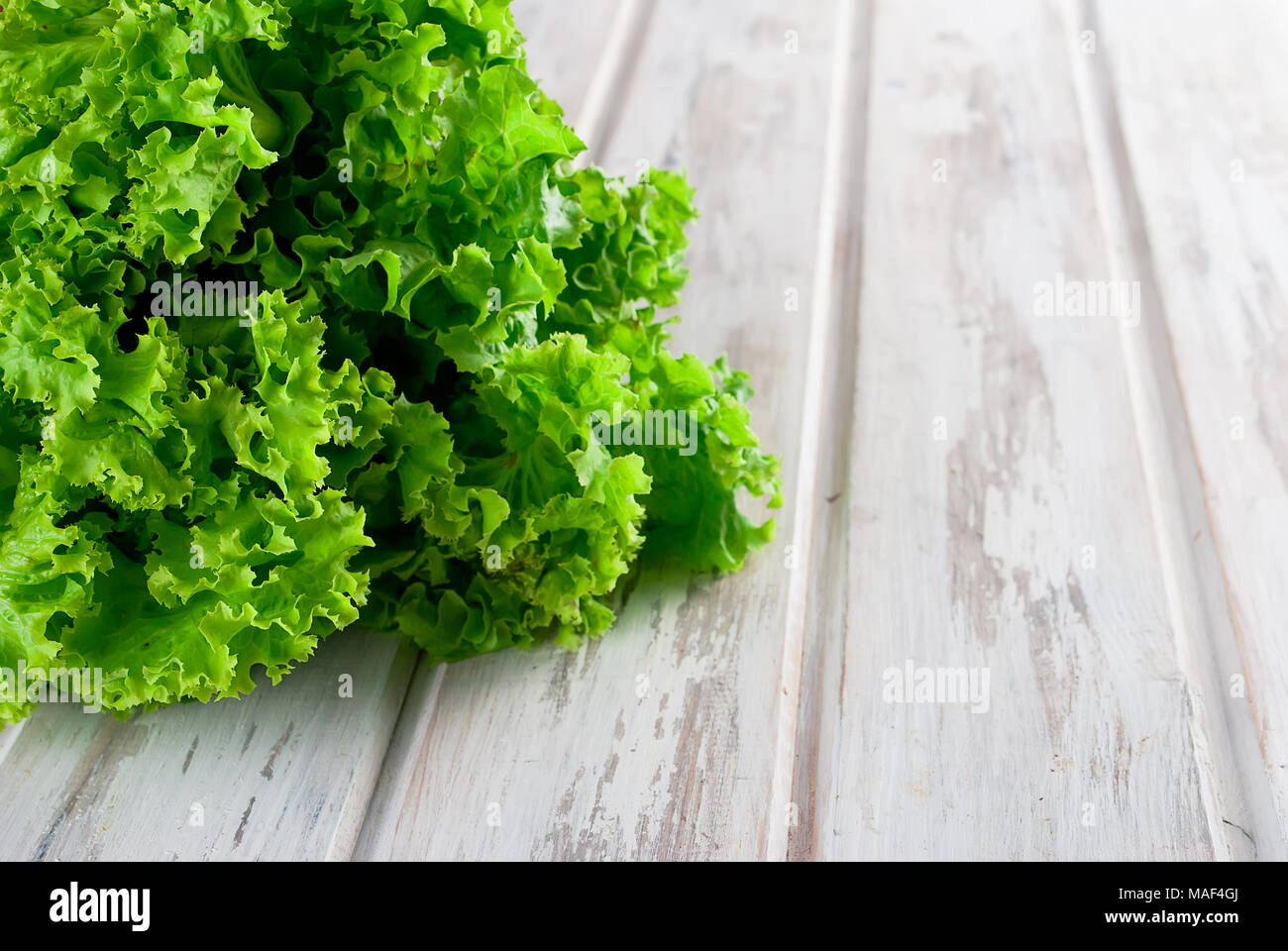Fresh green l salad leaves on the wood background . copy space - Stock Image