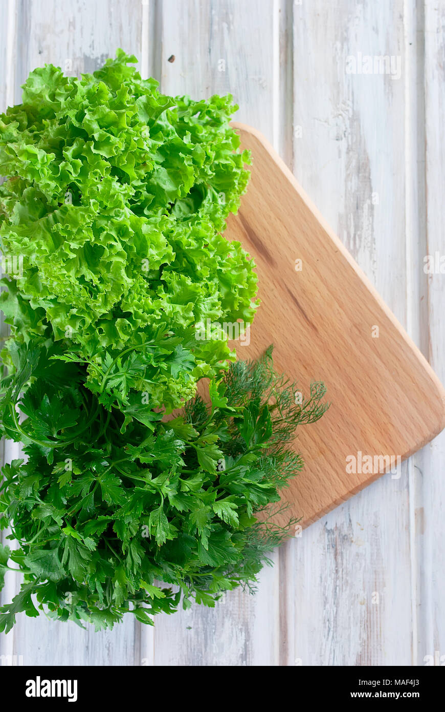 Fresh green l salad leaves, parsley and dill on the white wood background . copy space - Stock Image