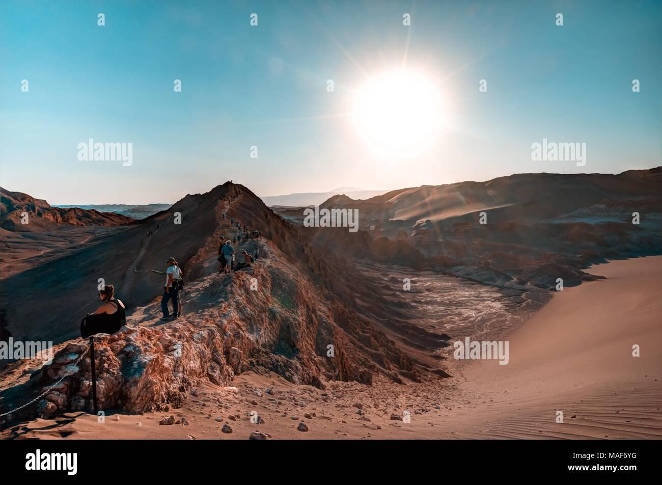 lunar landscape of Atacama desert in Moon Valley - Stock Image