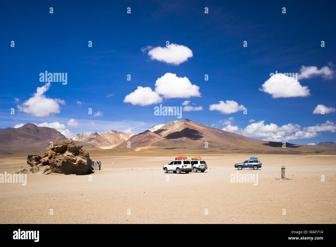 offroad expedition at Altiplano desert, Boivia - Stock Image