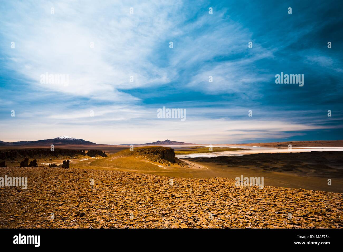 Salar de Tara in Chile, a tyical altiplano salt lake in the dry Atacama region - Stock Image