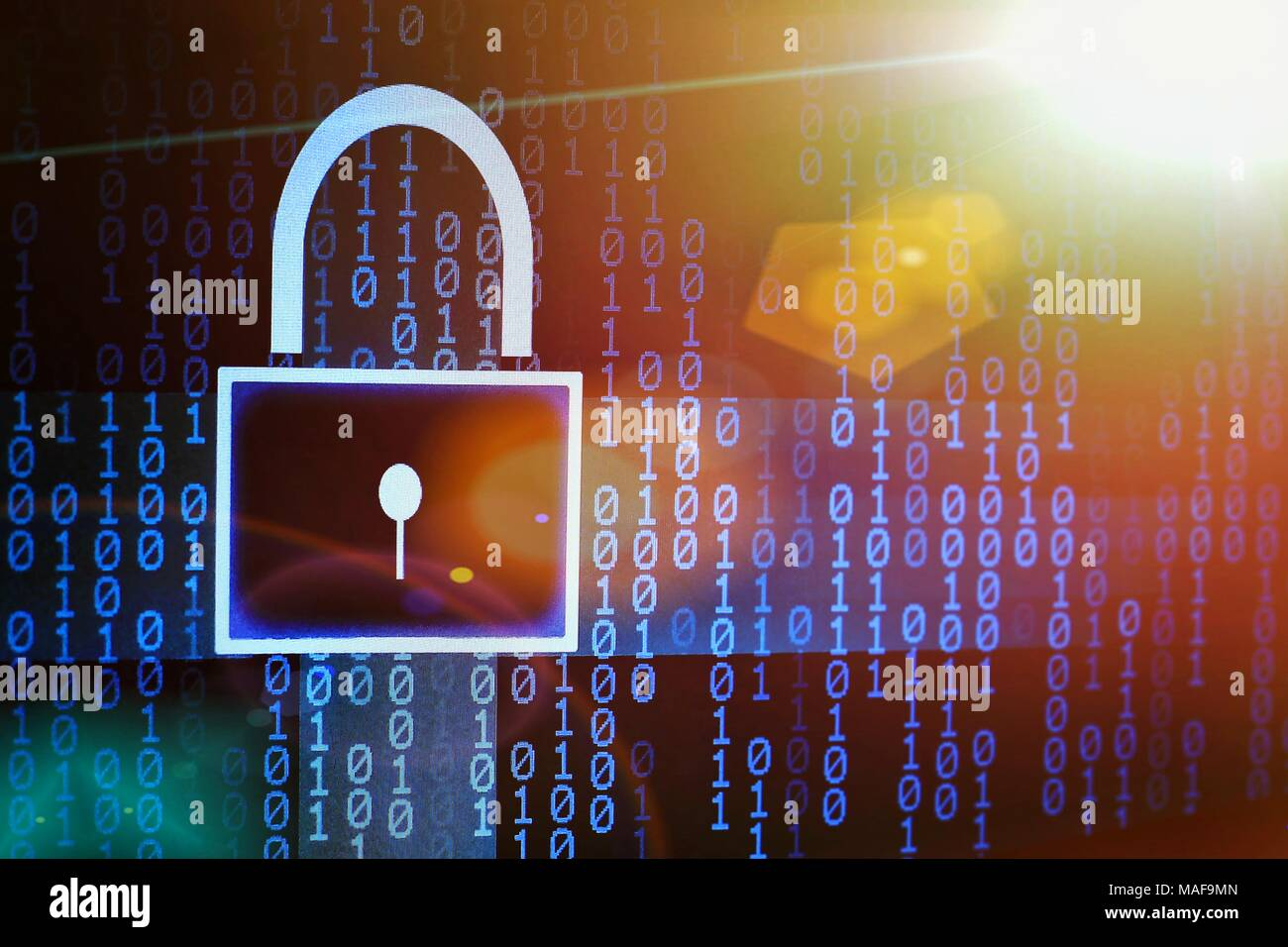 colorful binary code and padlock symbol. internet password and data privacy. cyber security concept. - Stock Image
