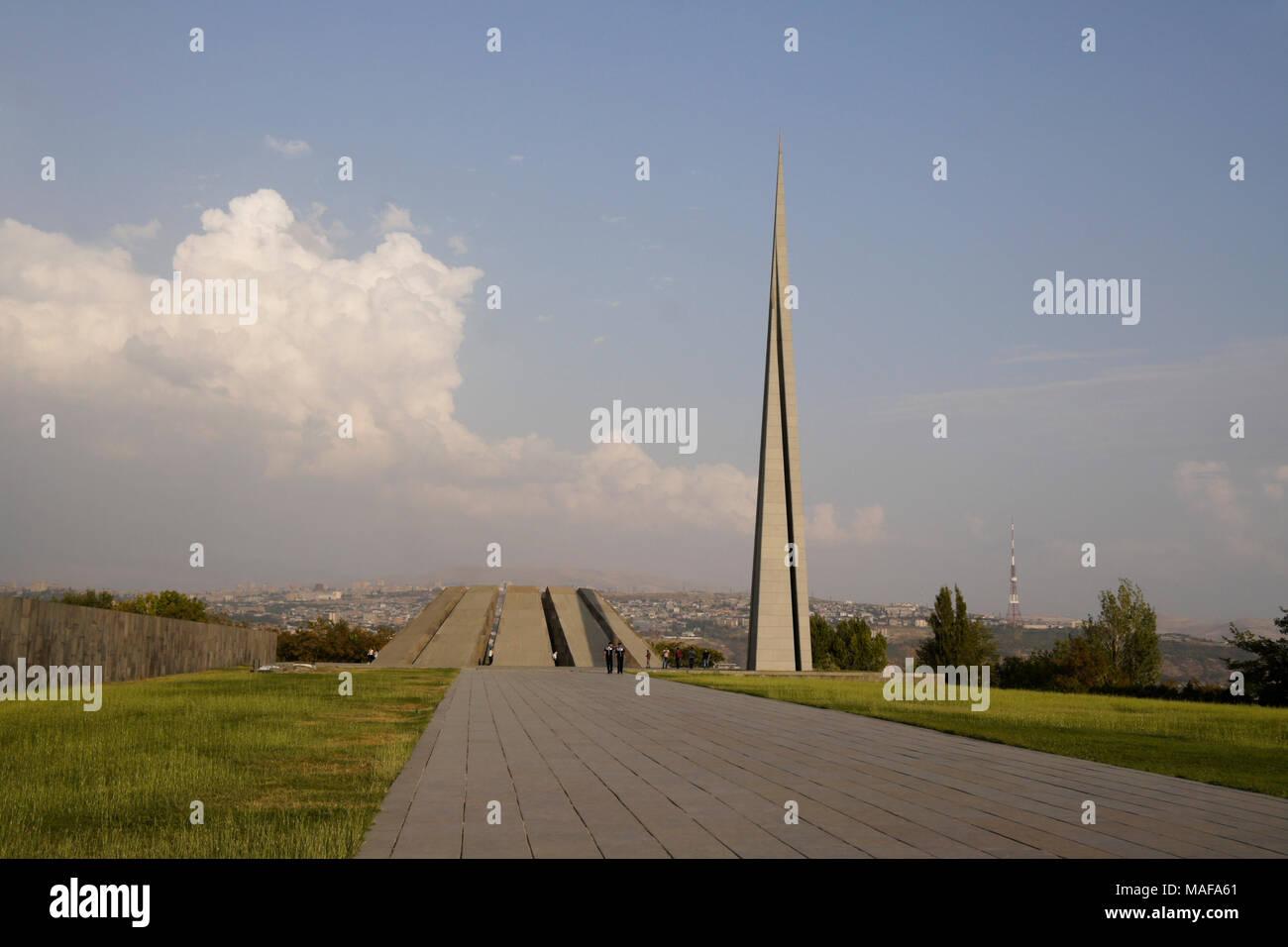 Armenian Genocide Memorial on Tsiternakaberd Hill (Fortress of Swallows), Yereven, Armenia - Stock Image