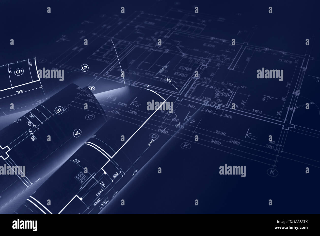 Blueprint rolls and engineering plans construction concept blueprint rolls and engineering plans construction concept background double exposure stock photo 178588051 alamy malvernweather Image collections
