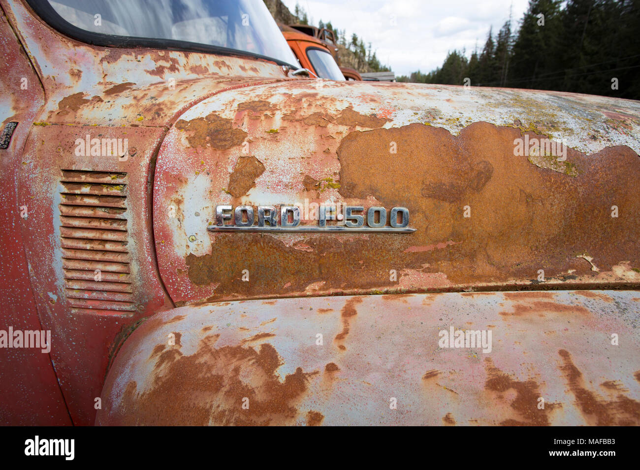 Vintage Red Ford Pickup Truck Stock Photos 1941 Farm The Chromed F 500 Logo On Side Of Hood An