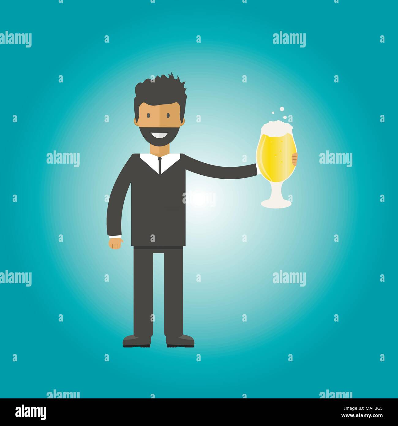 Man with beer bottle, mugs and glasses. Vector icon with alcoholic beverages. Wheat beer, lager, craft beer, ale. Stock Vector