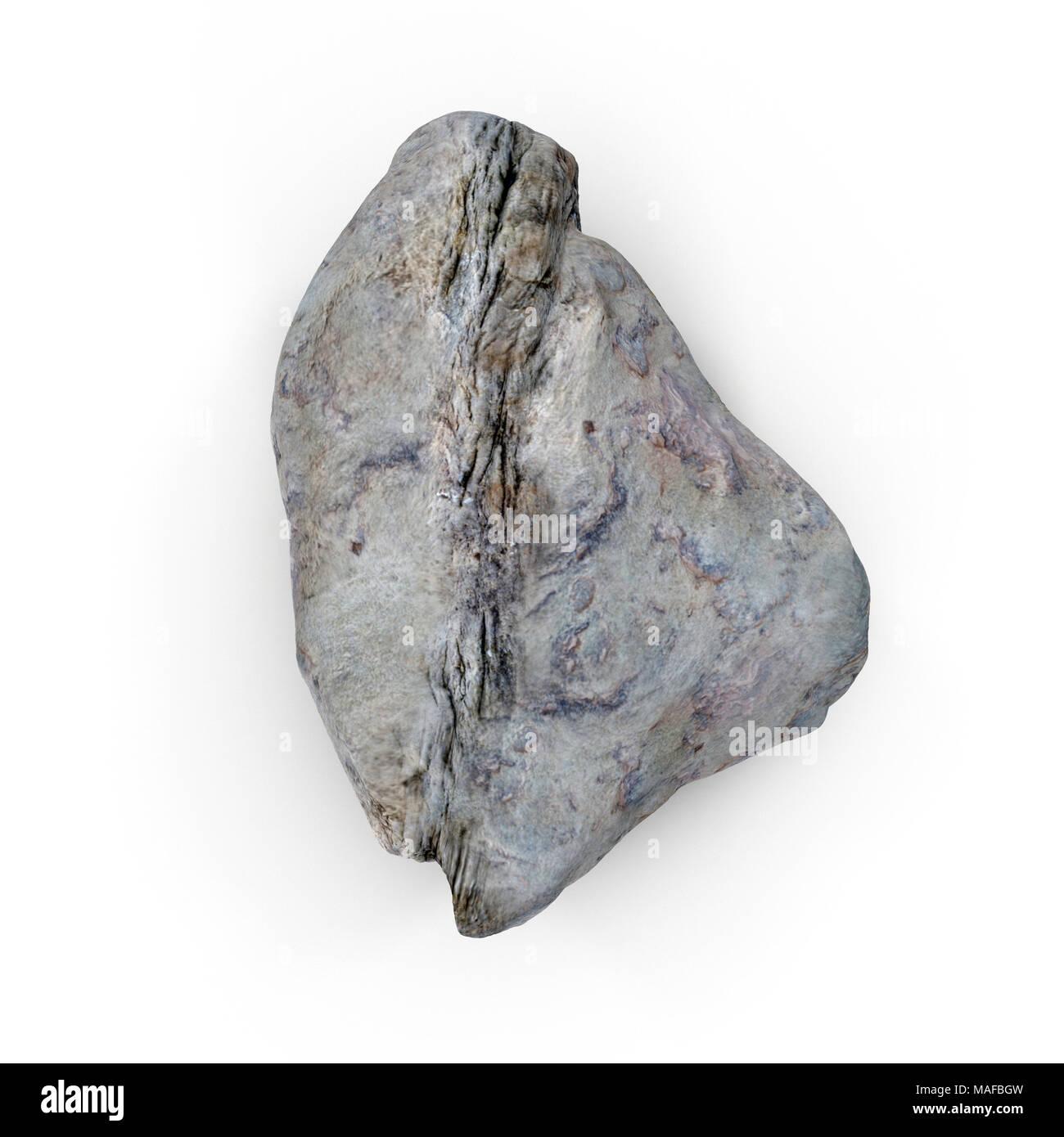 Rock stone isolated on white. 3D illustration Stock Photo