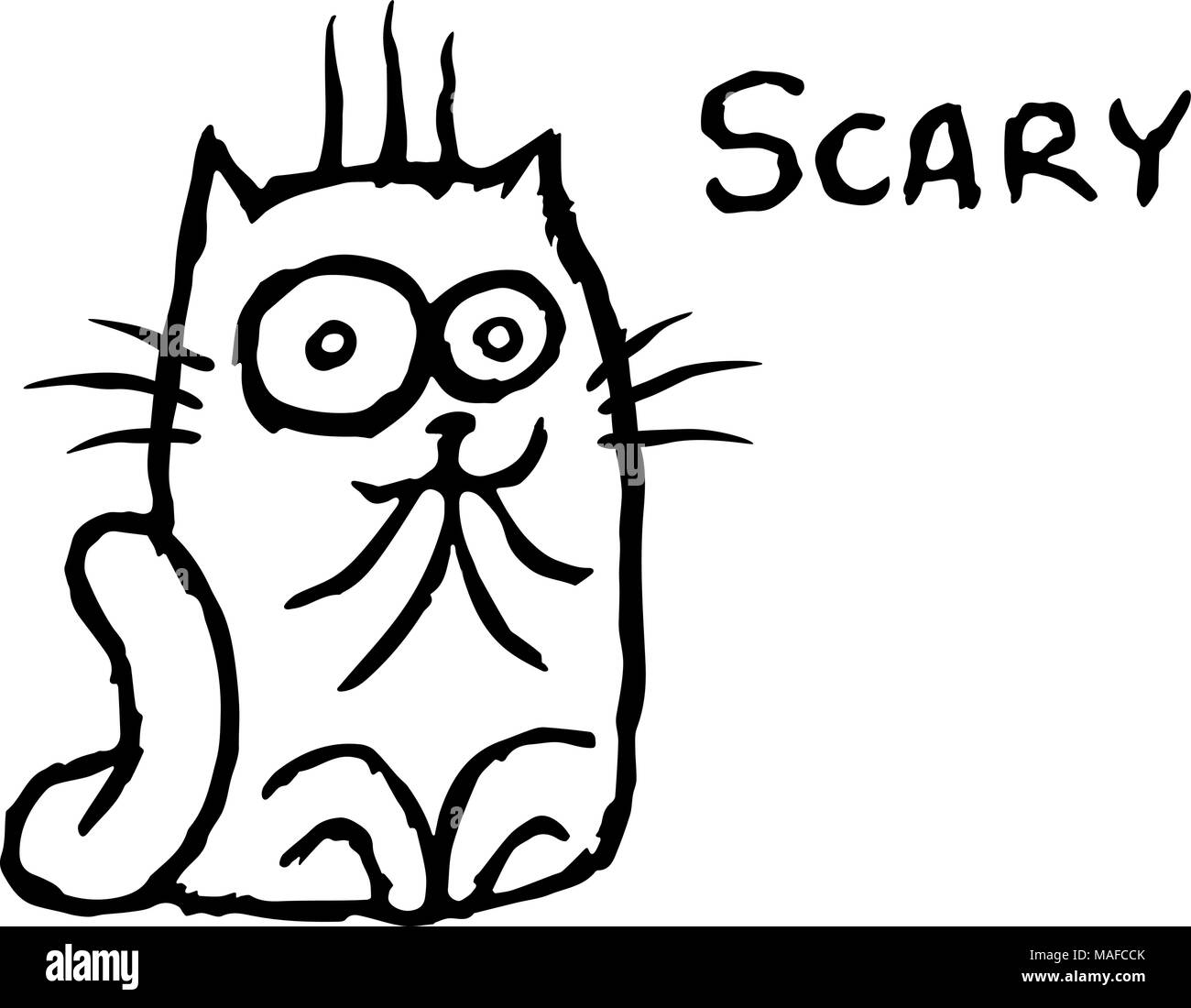 Cat Tik Was Scared Vector Illustration Cheerful Cartoon Pet