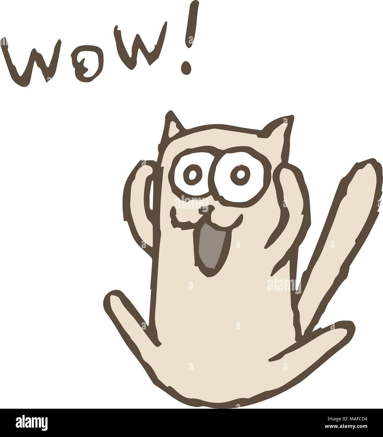 Cartoon cat Tik screaming Wow. Vector illustration. Funny imaginary character. - Stock Vector