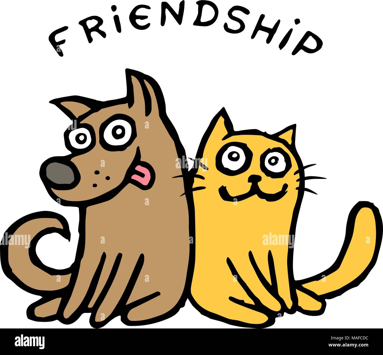 Friendship Dog Kik And Cat Tik Best Friends Vector Illustration