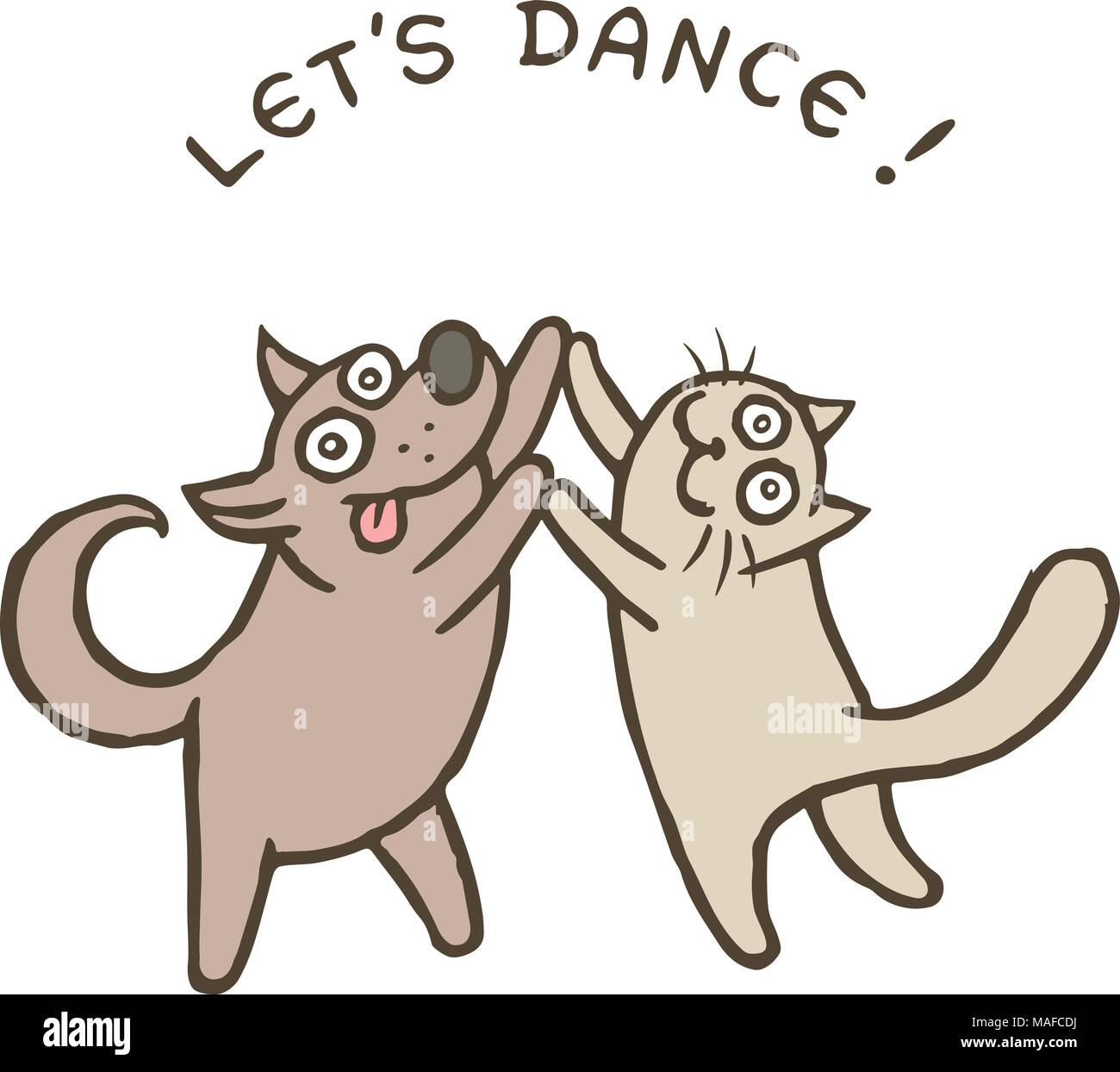 Cartoon Dog Kik And Cat Tik Dancers Vector Illustration Best