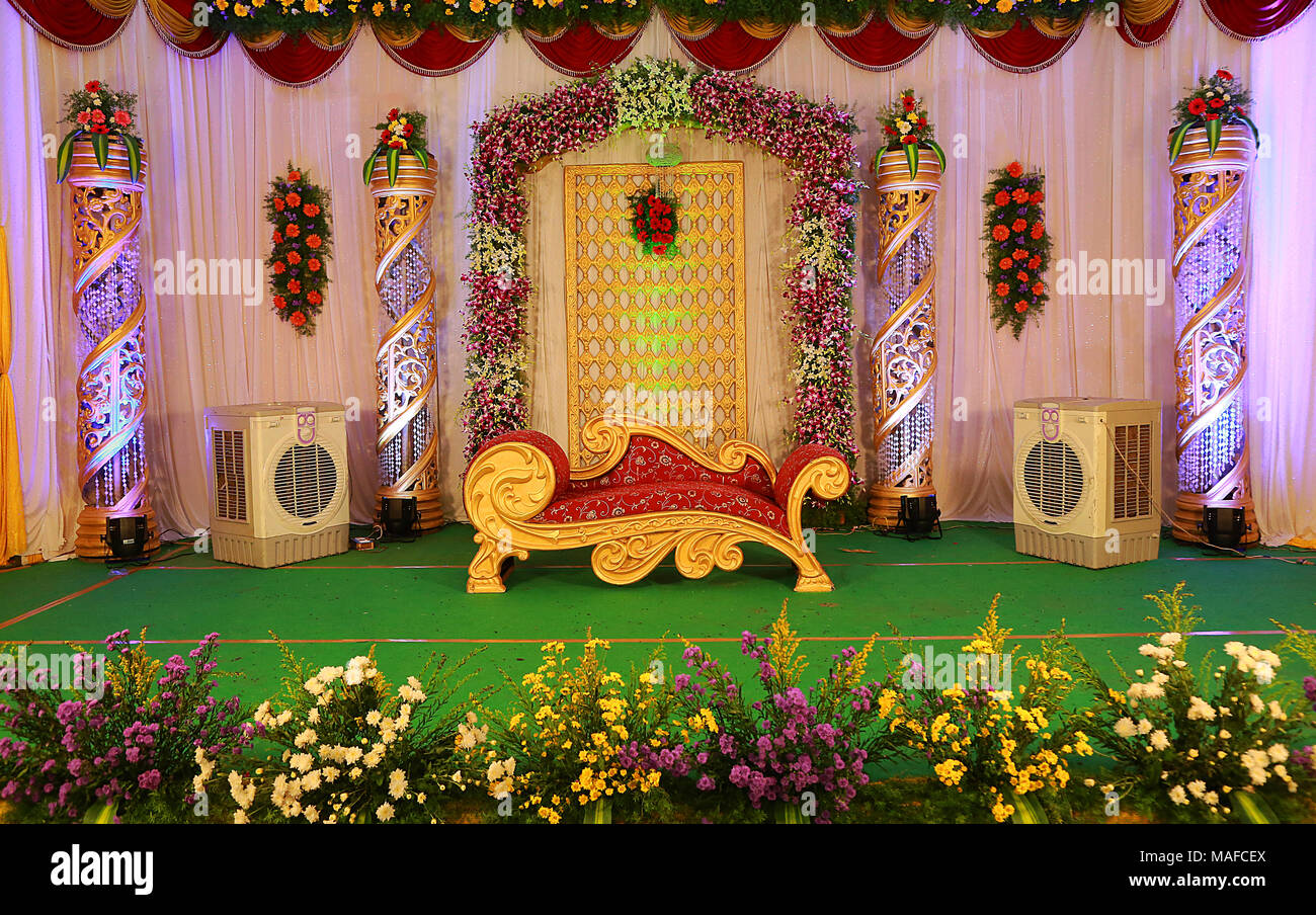 Wedding decorations india stock photos wedding decorations india indian wedding stage decoration stock image junglespirit