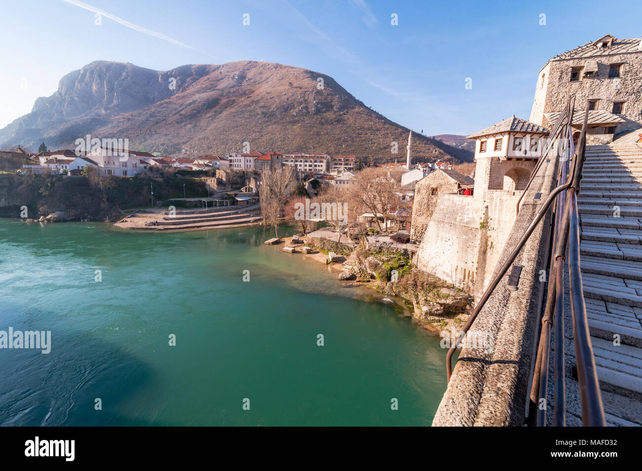 Stari Most (Old Bridge) landscape city of Mostar in Bosnia - Stock Image