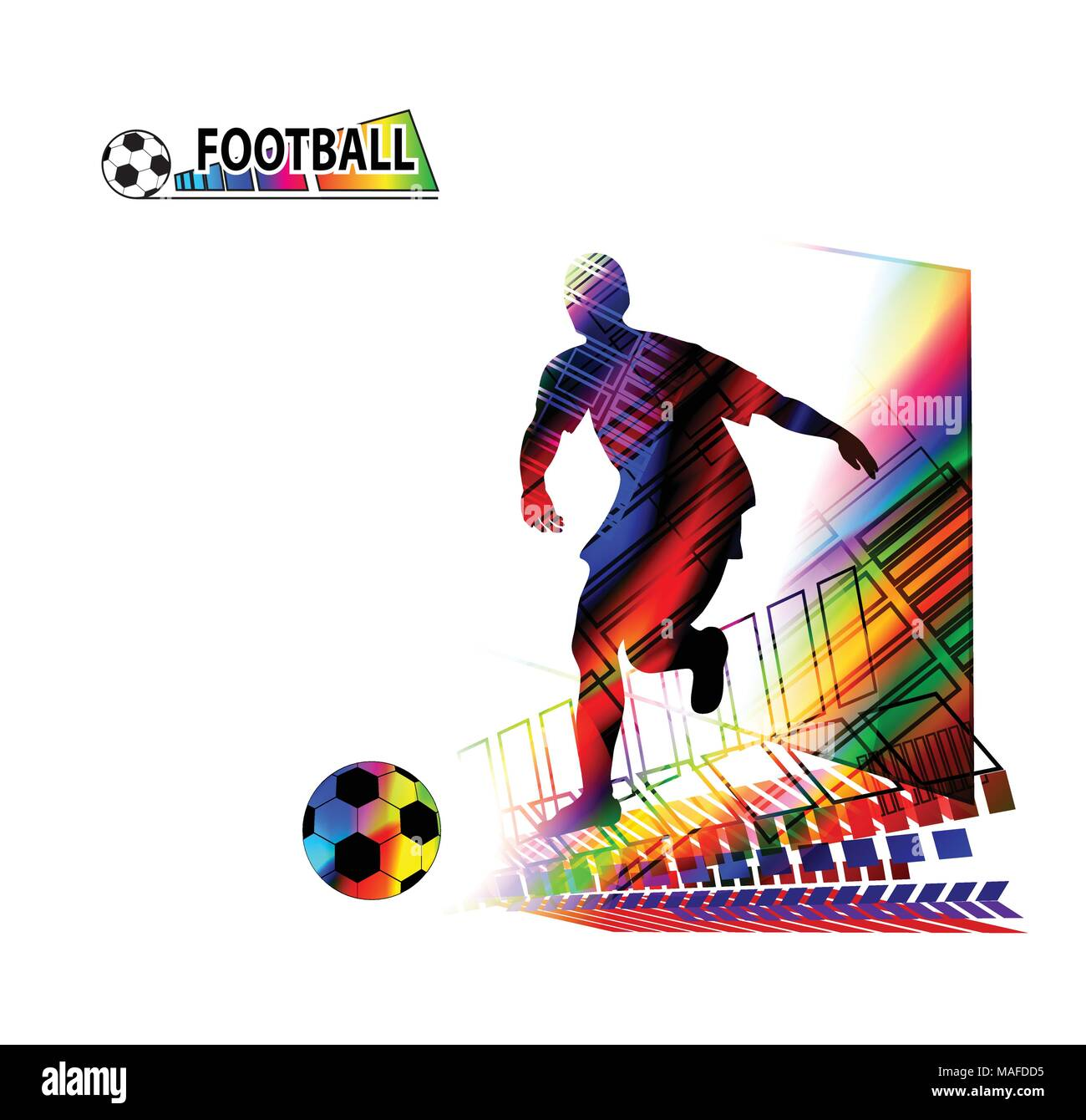 Soccer player kicks the ball. Vector illustration - Stock Vector