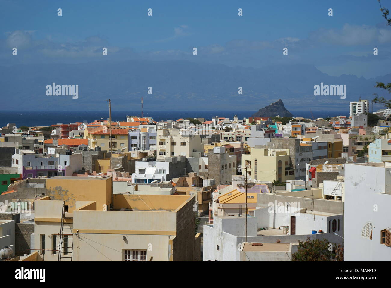 View over Mindelo to Santo Antao, Sao Vicente, Cape Verde, Africa - Stock Image