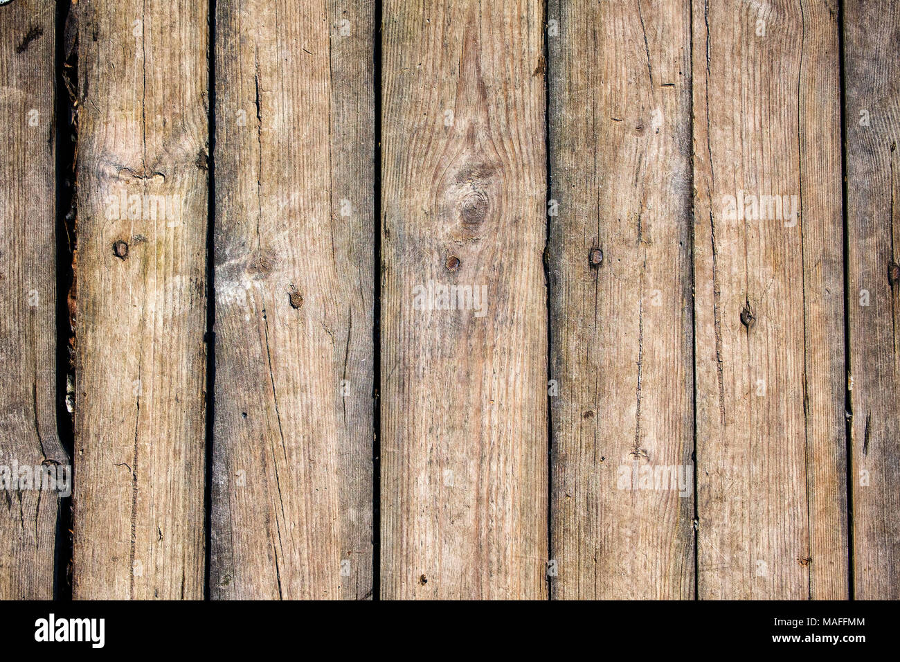 The surface of aged boards. Texture of boards with cracks and nail heads - Stock Image