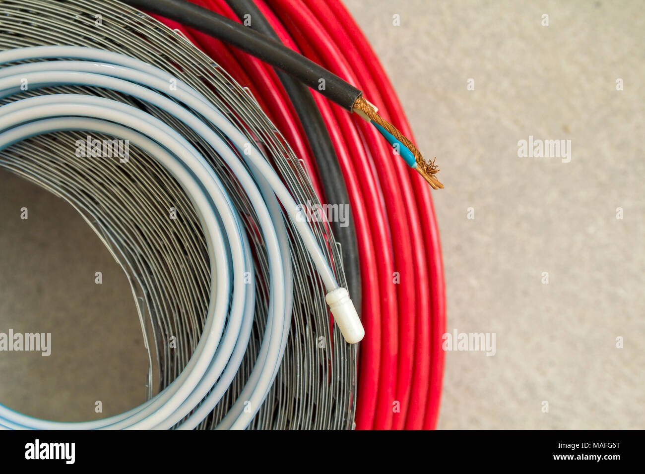Heating floor system wires and cables. Renovation and construction ...