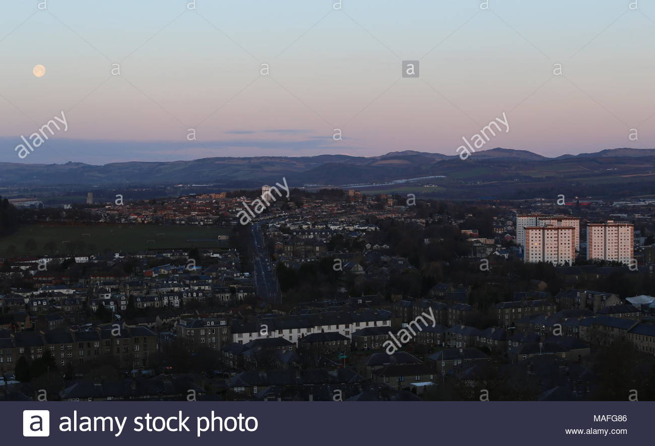 Elevated view of Lochee Park Dundee Scotland  April 2018 - Stock Image