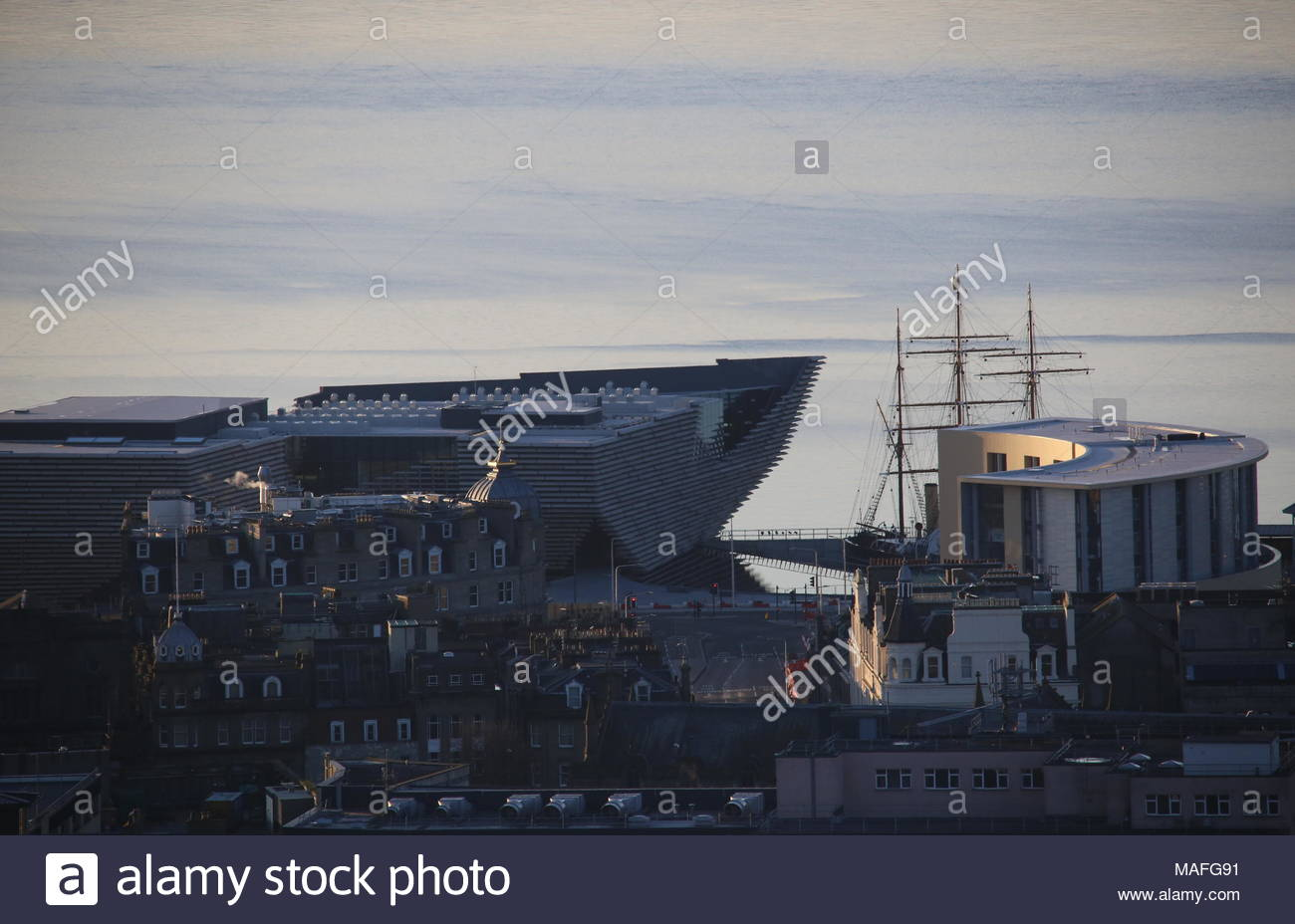 Elevated view of Discovery Point from Dundee Law Scotland  April 2018 - Stock Image
