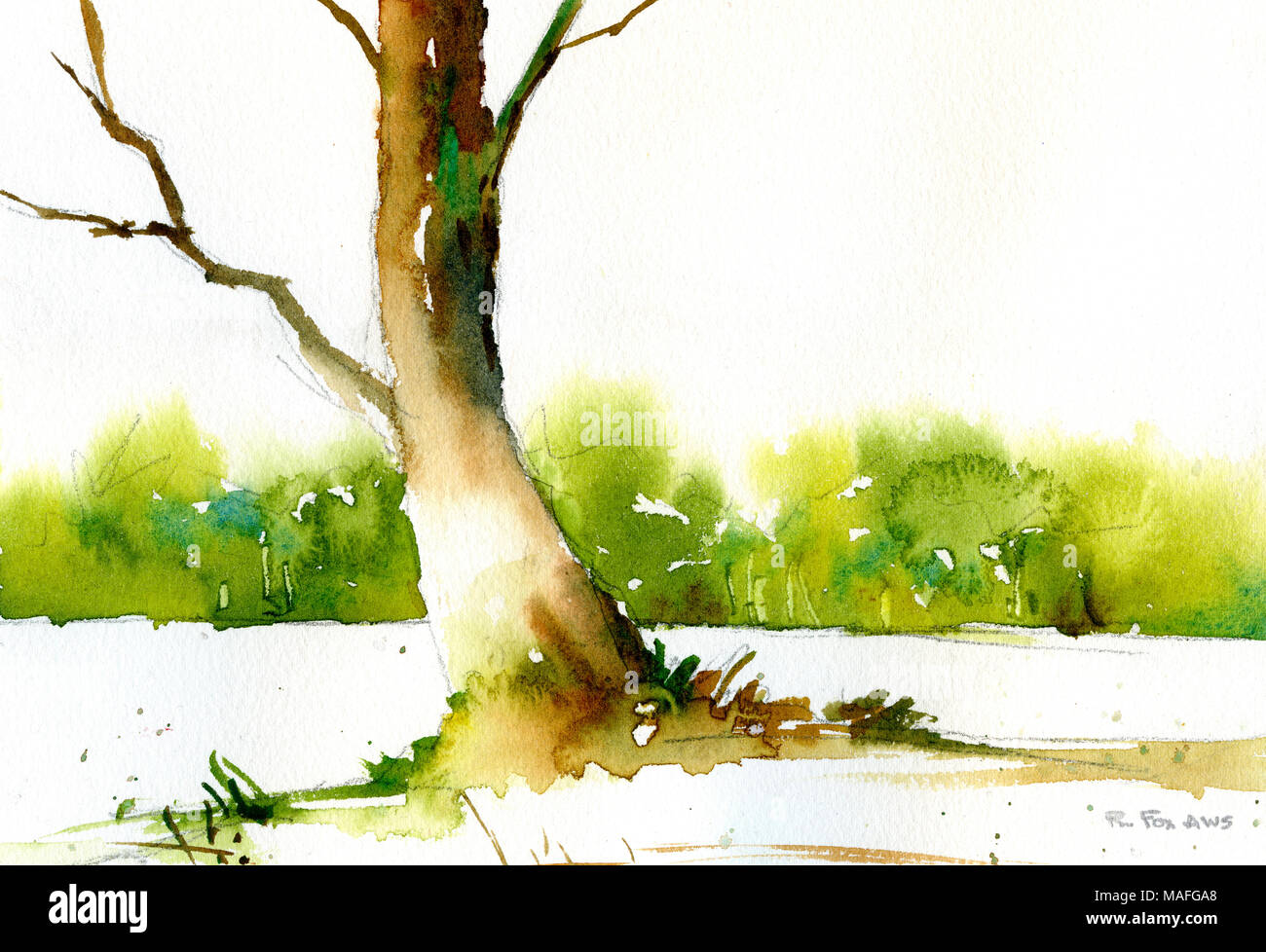 Watercolor Landscape With Trees Stock Photos & Watercolor Landscape ...