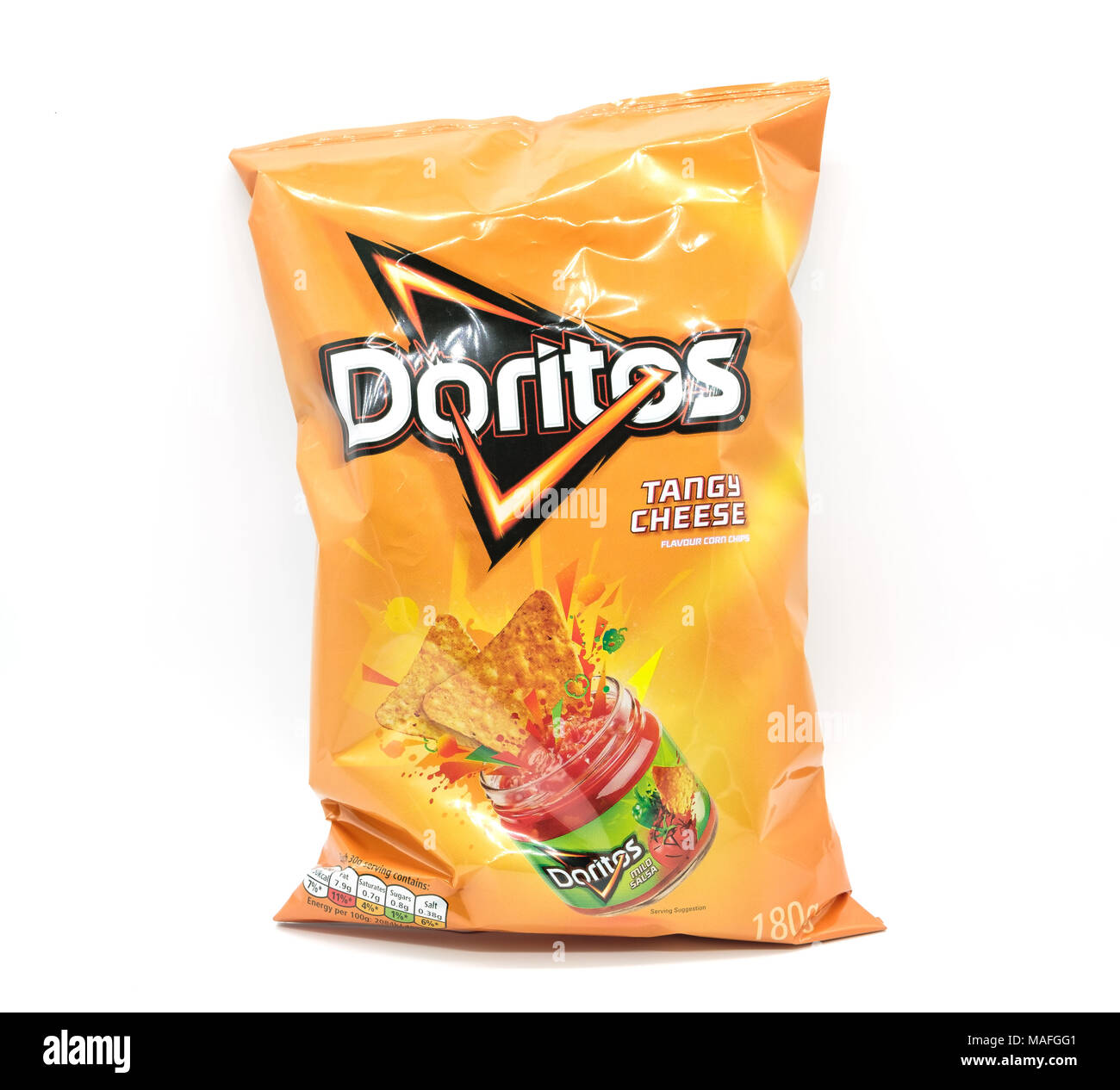 Largs, Scotland, UK - March 31, 2018: Bag of Doritos. Recent reportage about wastfull packaging in relation to non recyclable plastics and the attempt - Stock Image