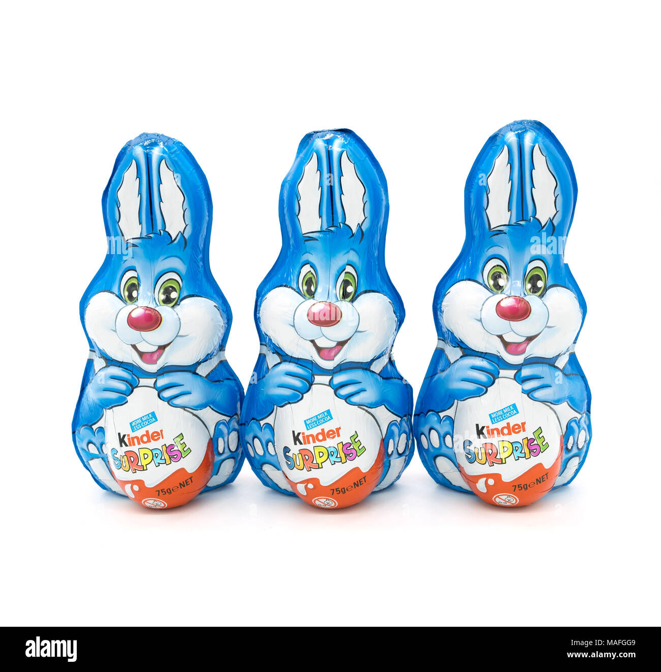 Largs, Scotland, UK - March 31, 2018: Foil Wrapped Kinder Egg Rabbits. Recent reportage about wastfull packaging in relation to non recyclable plastic - Stock Image