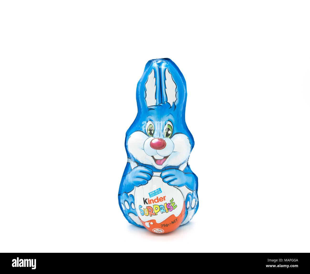 Largs, Scotland, UK - March 31, 2018: Foil Wrapped Kinder Egg Rabbit. Recent reportage about wastfull packaging in relation to non recyclable plastics - Stock Image