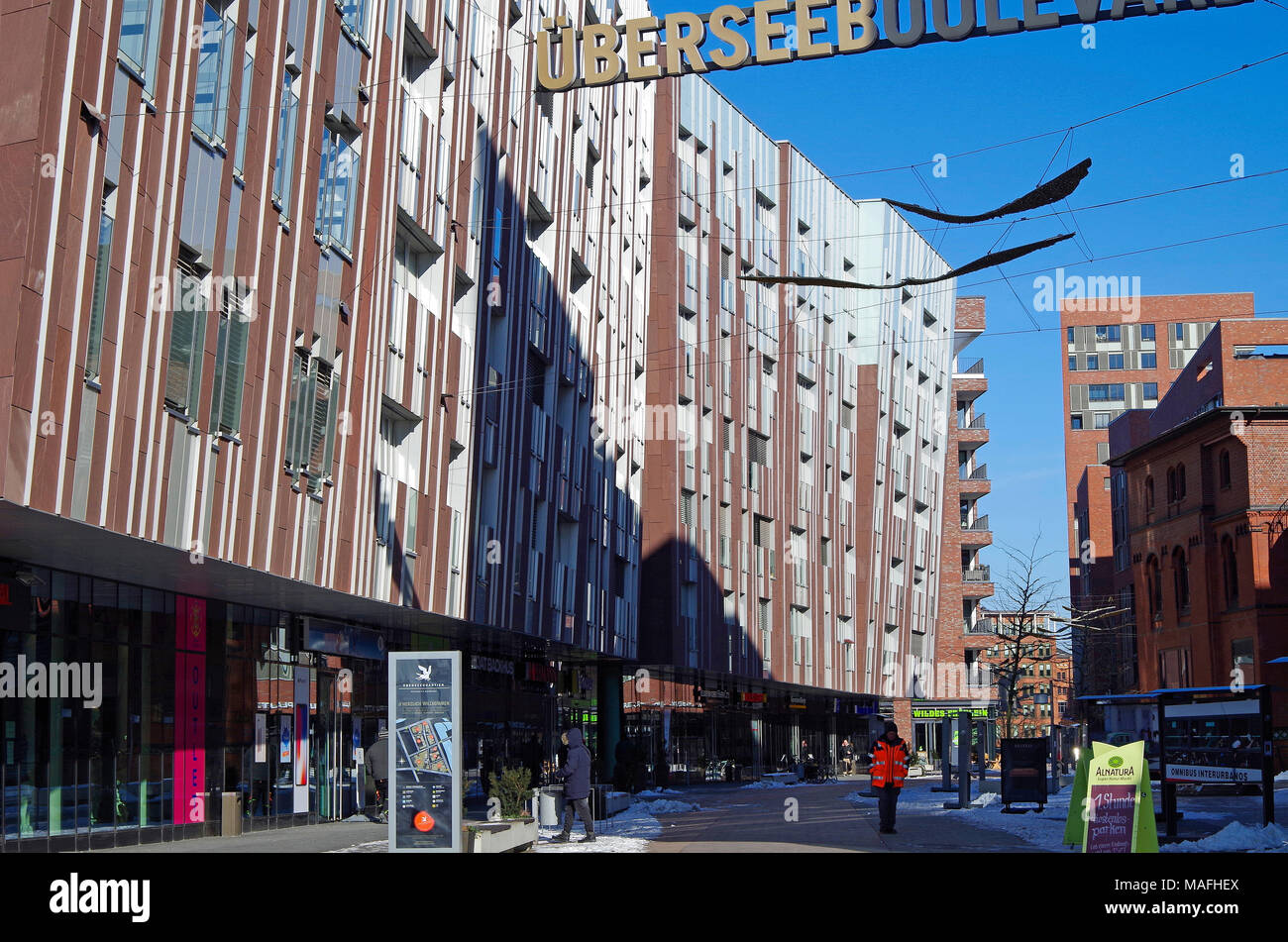 UberseeBoulevard, a 400m long shopping street, with apartment buildings above, in Hafen City, an immense  urban redevelopment project, in Hamburg, - Stock Image