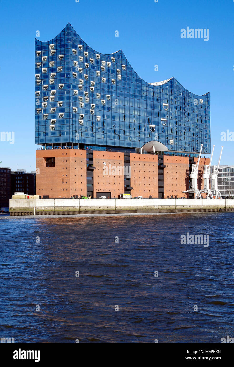 View from the top deck of a ferry of the Elbphilharmonie concert hall on a peninsula jutting out into the river Elbe, in Hamburg Germany Stock Photo
