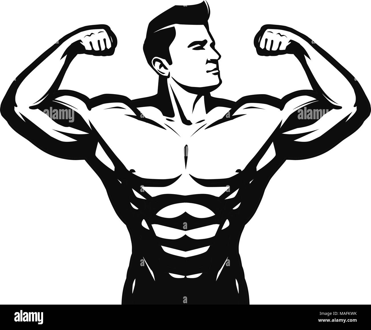 Gym, sport, bodybuilding logo or label. Strong man with big muscles. Vector illustration - Stock Image
