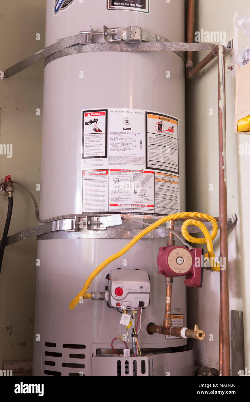 American Hot water heater and storage system - Stock Image