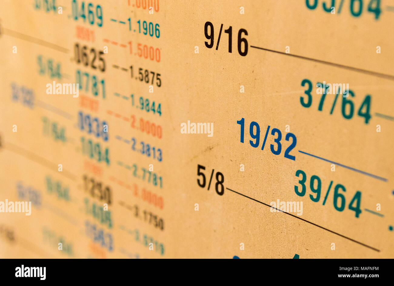 Fractional to decimal measurement size conversion chart yellowed from age covered in dust - Stock Image