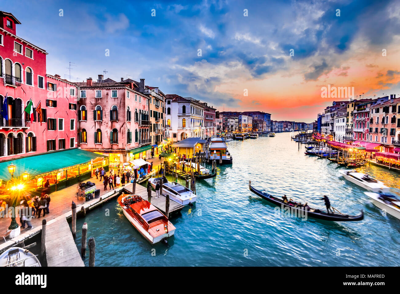 Venite, Italy  - Night image with Grand Canal, from oldest bridge Rialto, Venezia. - Stock Image