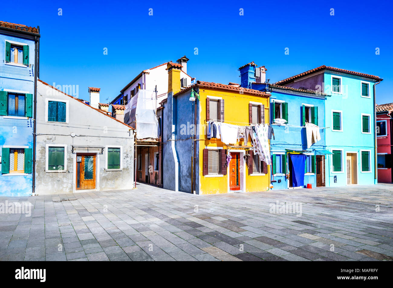 Burano, Venice. Image with colorful island from beautiful Veneto in Italy. - Stock Image