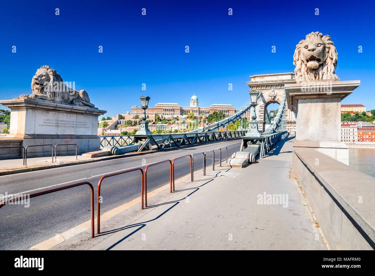 Budapest, Hungary. Szechenyi or Lanchid Chain Bridge, first stone-bridge over Danube River - Stock Image