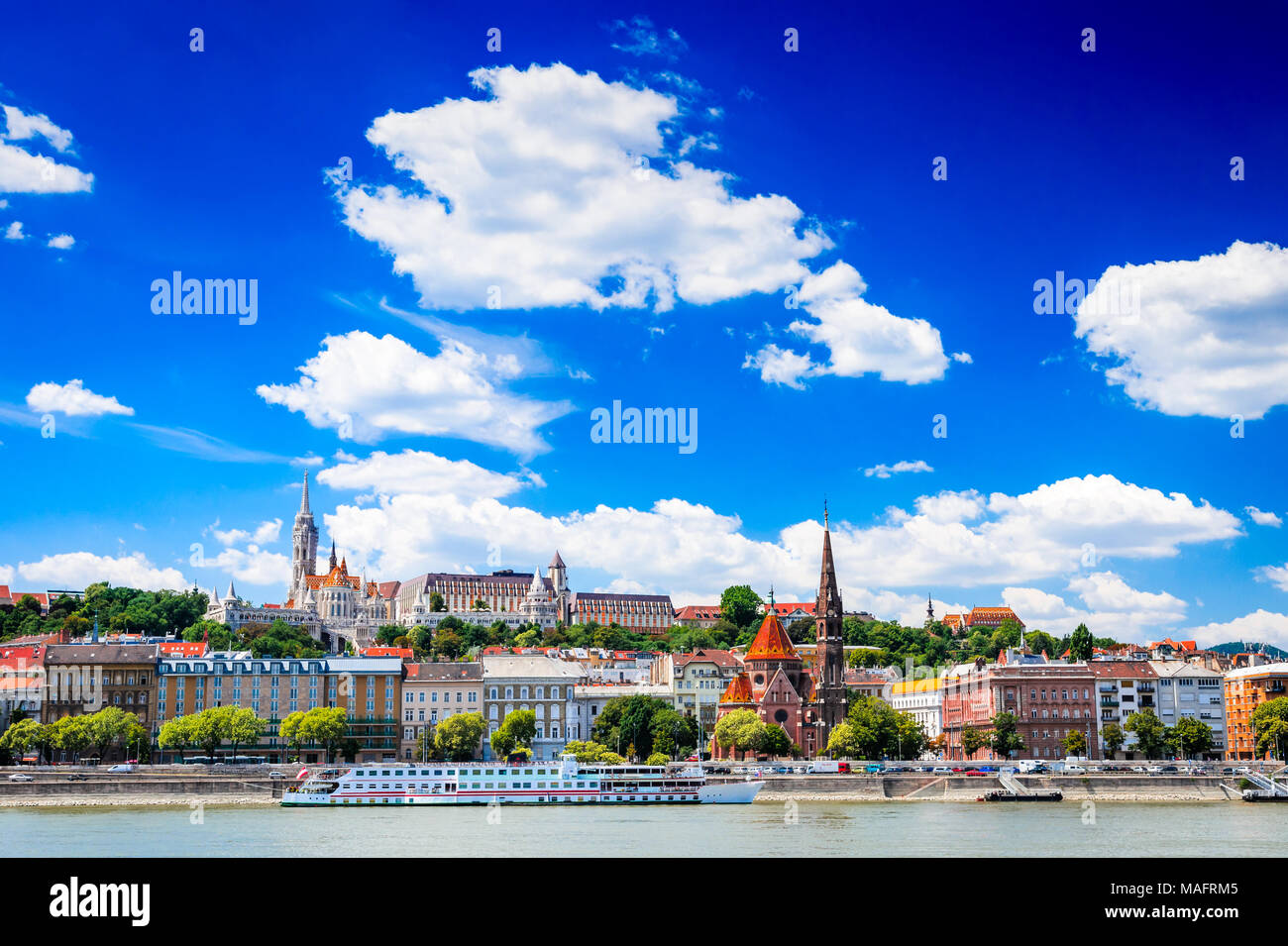 Budapest, Hungary - Castle Hill district, Matyas Church, Fishermen Bastion and Danube River. - Stock Image