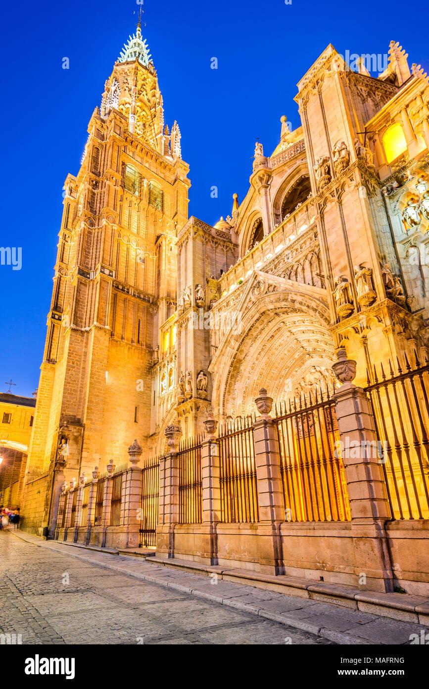 Toledo, Spain. Catedral Primada, Mudejar gothic style (1226) in Castilla la Mancha. - Stock Image