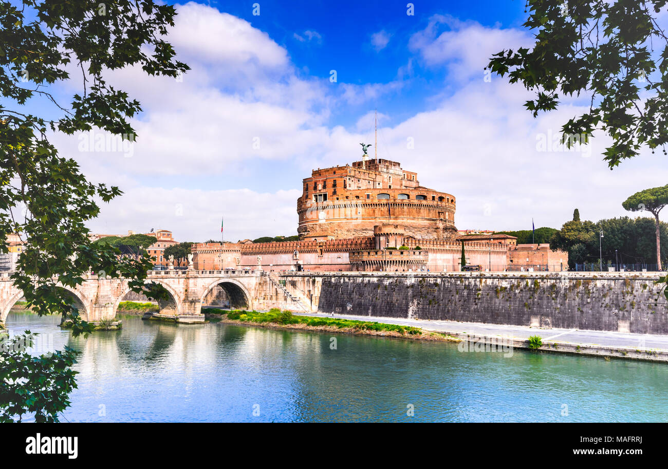 Rome, Italy - Stunning spring image of Tiber River and Castel Sant'Angelo, italian sights. - Stock Image