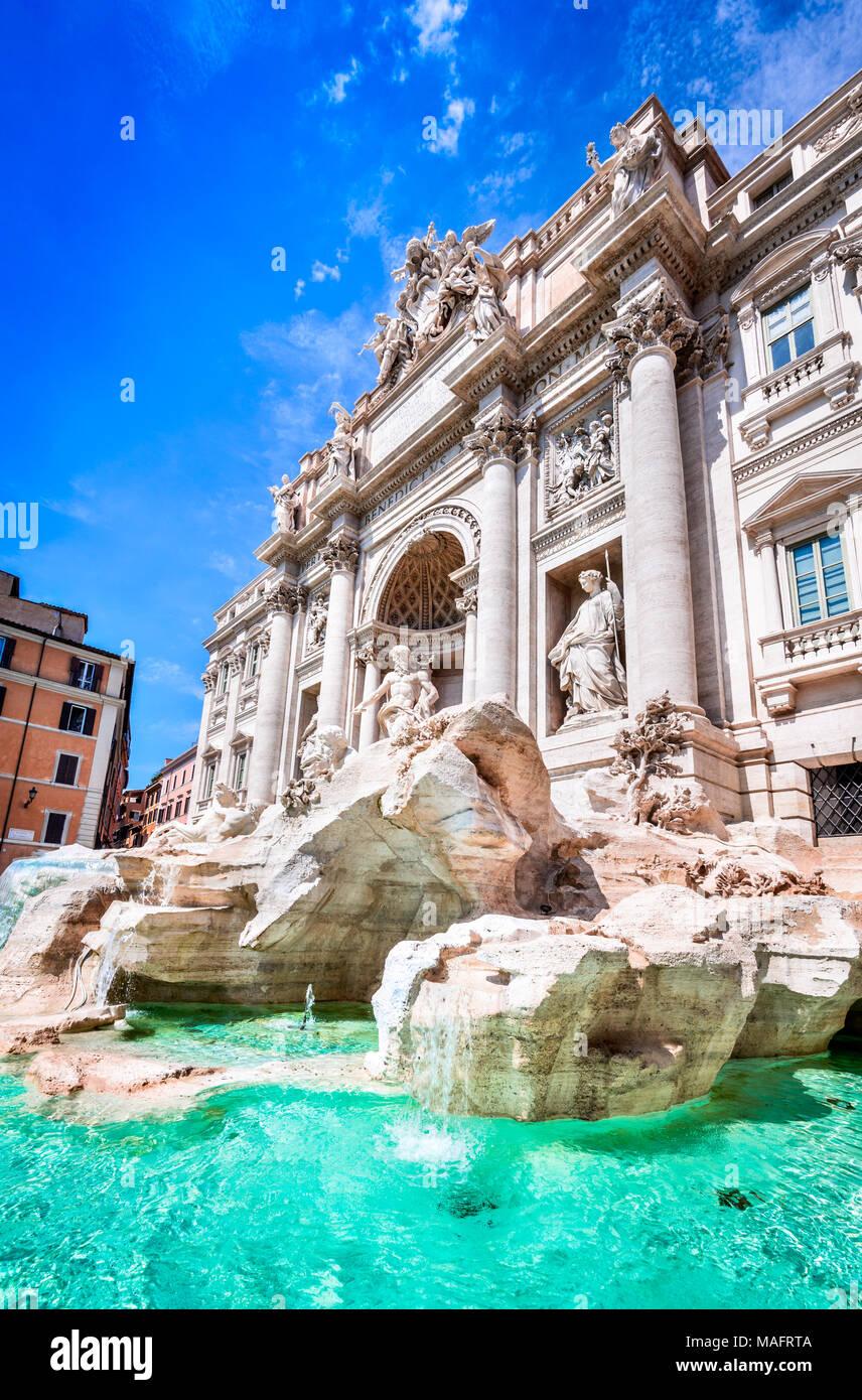 Rome, Italy. Famous Trevi Fountain and Palazzo Poli (Italian: Fontana di Trevi) in italian city of Roma. - Stock Image