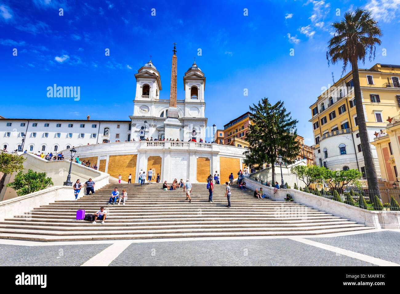 Rome, Italy - April 2017: Piazza di Spagna and Trinita dei Monti church, roman cityscape scenery. - Stock Image