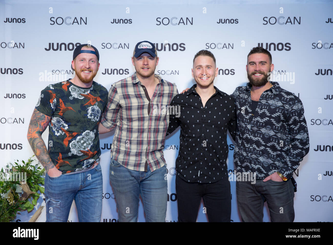 Vancouver, CANADA. 24th March, 2018. James Barker Band on the red carpet at the 2018 Juno Awards gala in Vancouver. Bobby Singh/fohphoto - Stock Image